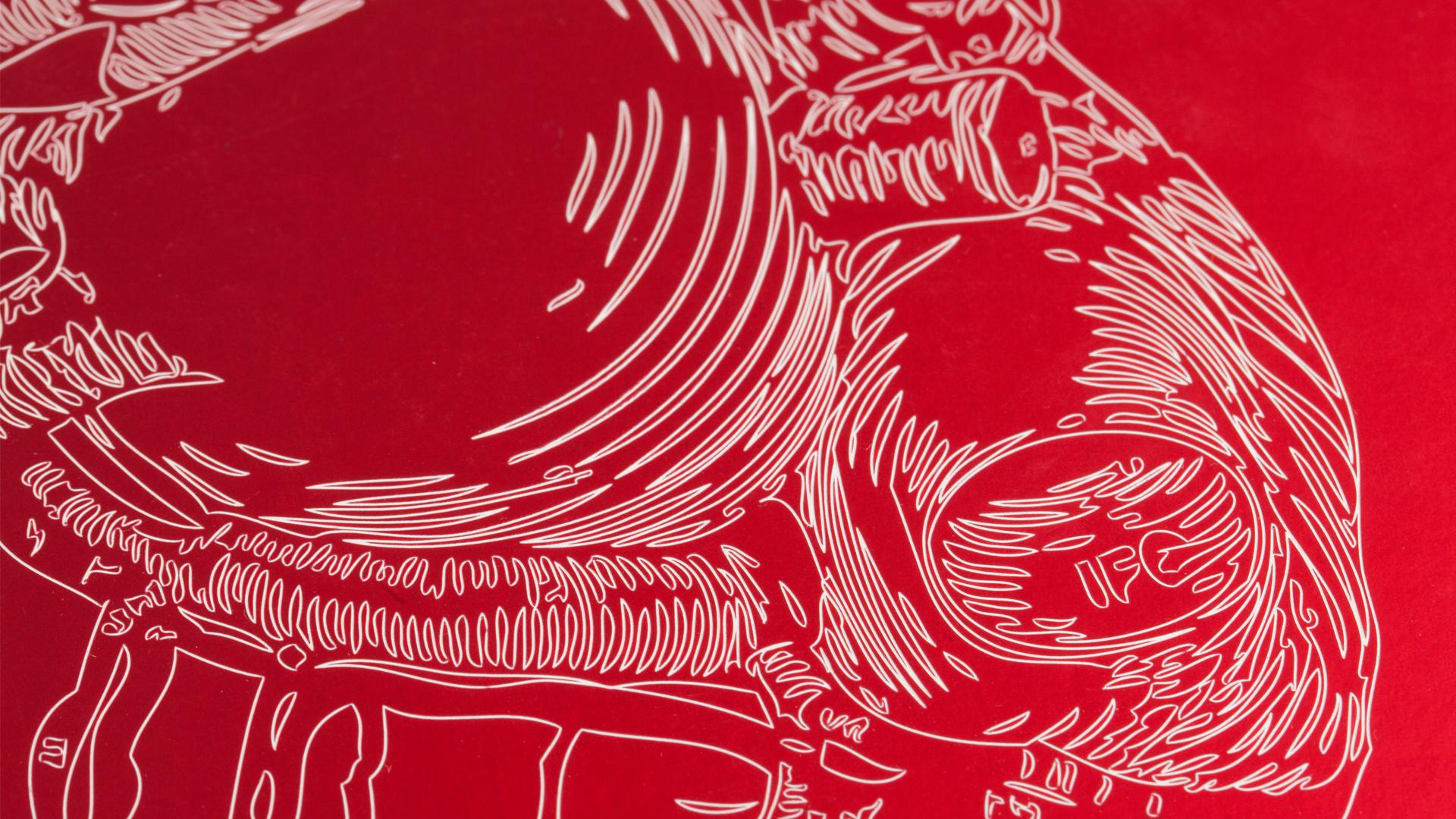 Detail einer Lasergravur in Form eines Herzens