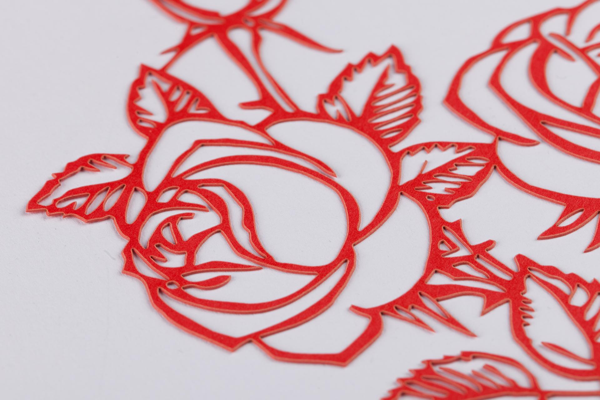 Lasergeschnittene Rote Rose